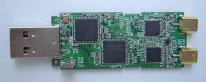top side of PCB with all major chips and IR receiver
